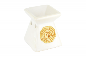 Suport ceramic pentru aromaterapie piramida Yin-Yang alb