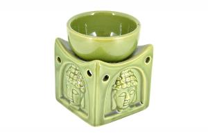 Suport ceramic pentru aromaterapie templu Buddha masliniu