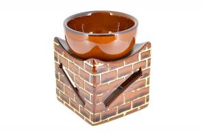 Suport ceramic pentru aromaterapie templu Shimu cafeniu