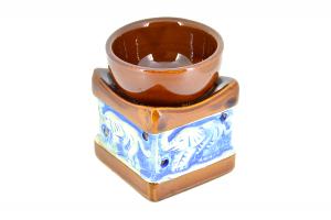 Suport ceramic pentru aromaterapie templu elefanti albastru