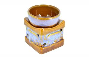 Suport ceramic pentru aromaterapie templu elefanti cafeniu-albastru
