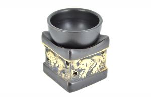 Suport ceramic pentru aromaterapie templu elefanti negru