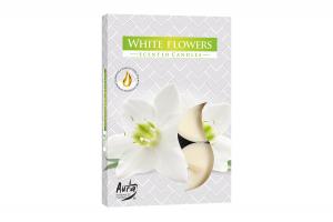 Lumanari parfumate pastila 4h (6buc.) Flori Albe (White Flowers)