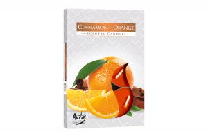 Lumanari parfumate pastila 4h (6buc.) Portocala-Scortisoara (Cinnamon-Orange)