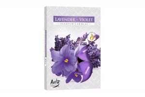 Lumanari parfumate pastila 4h (6buc.) Violeta-Lavanda (Lavender-Violet)