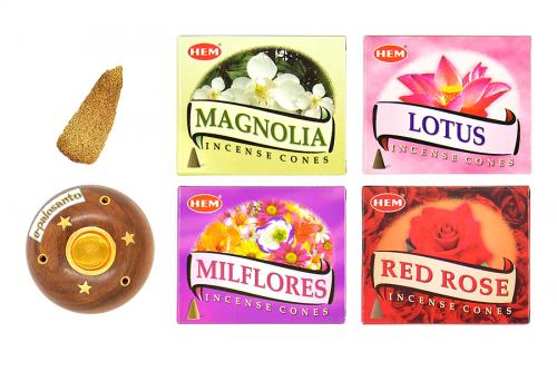 Set conuri parfumate Flori Aromate si con Palo Santo